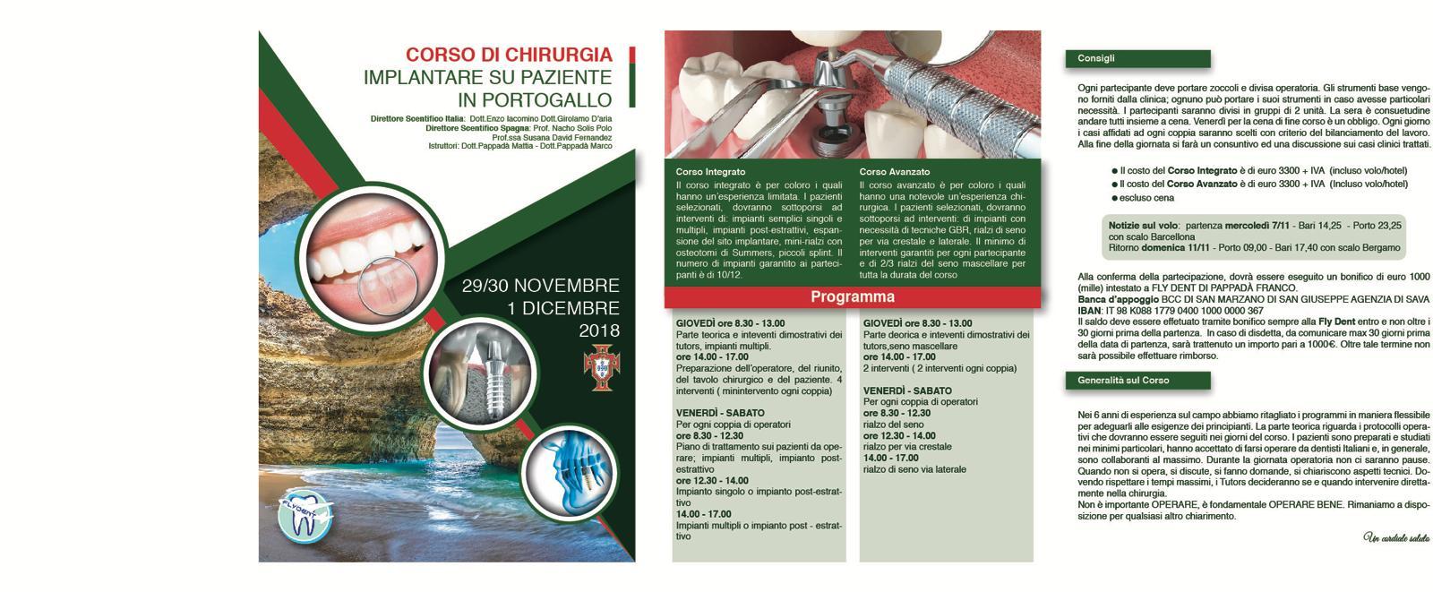 Corso di chirurgia implantare su paziente in portogallo